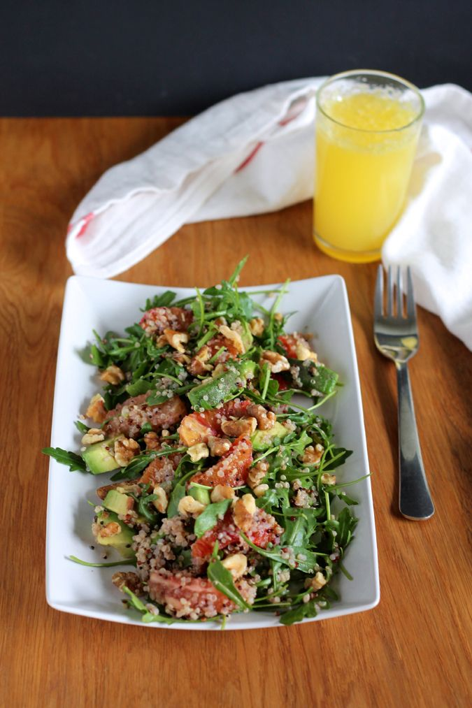 Winter Citrus Breakfast Salad with Quinoa and Toasted Walnuts #Breakfast_for_Dinner #Salad #Grapefruit #Orange #Avocado #Walnuts #Quinoa #Healthy