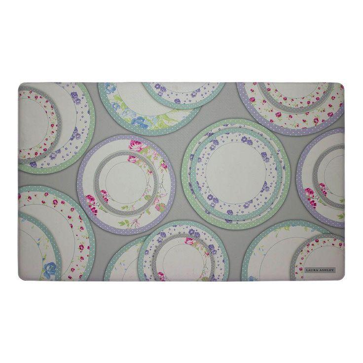 Tea Plates Gray 20 in. x 32 in. Memory Foam Kitchen Mat