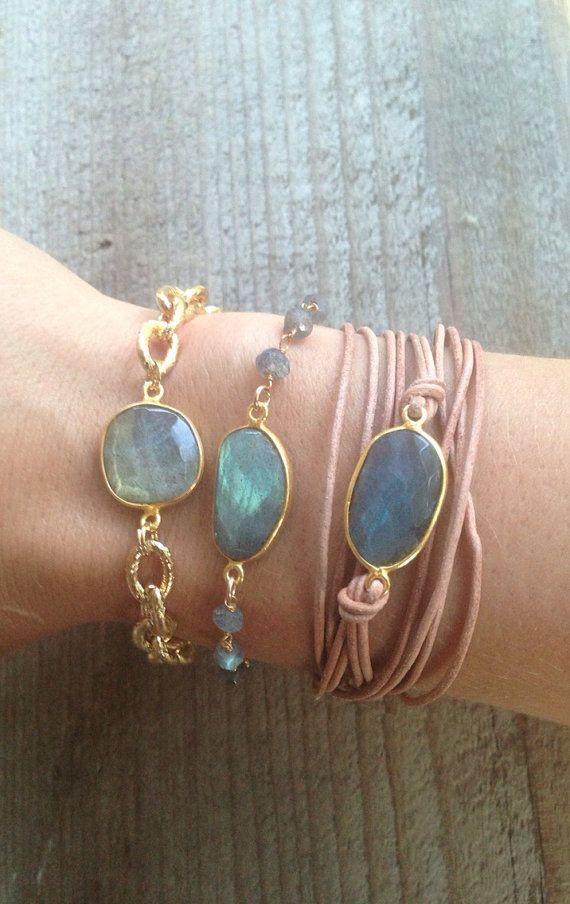 Leather wrap Bracelet with Labradorite Bezel Set by joydravecky