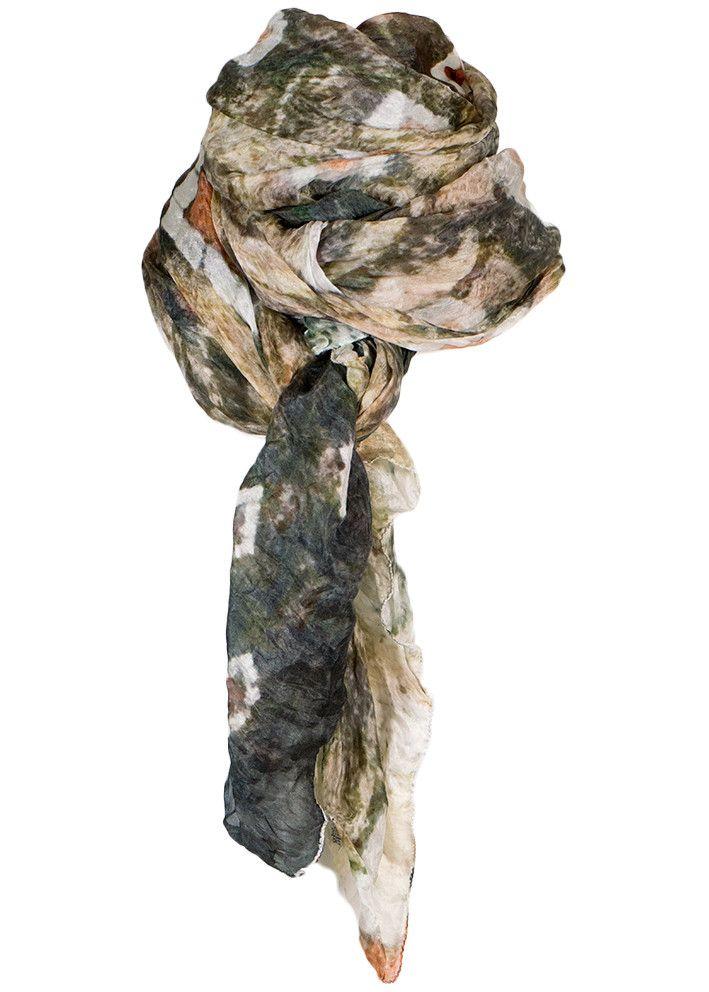 By Birdie Silketørklæde - Silk Art Scarf - Bologne Marble – Acorns