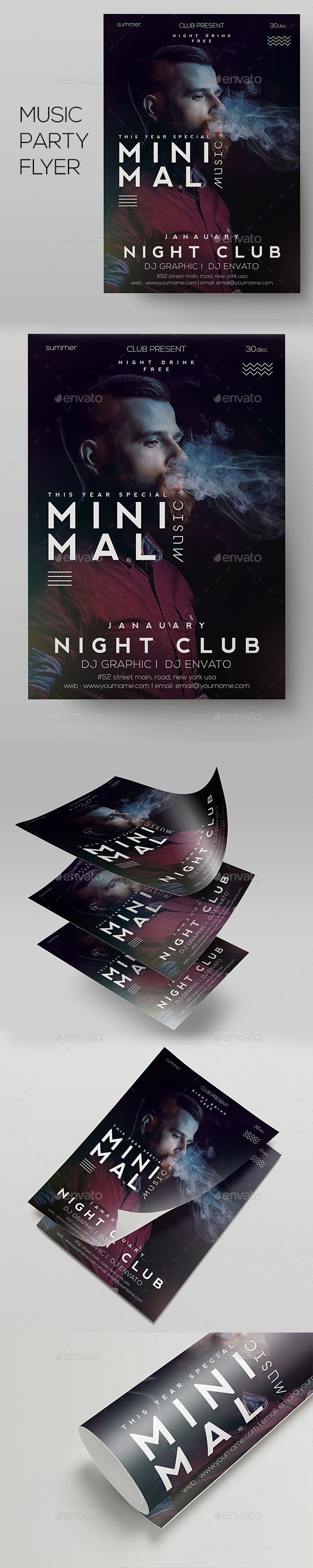 Deep Club #Party | Minimal #Flyer Template - Clubs & Parties #Events