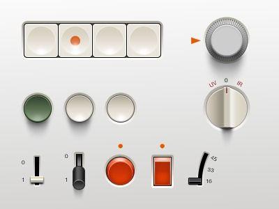 Dribbble - Braun UI (.psd) by Adrien Olczak #dieterrams #braun #buttons