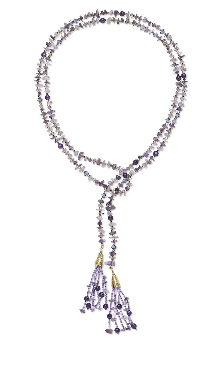 jewelry design lariat style necklace with amethyst gemstone beads swarovski crystal beads gold filled beads and seed beads fire mountain gems and - Jewelry Design Ideas