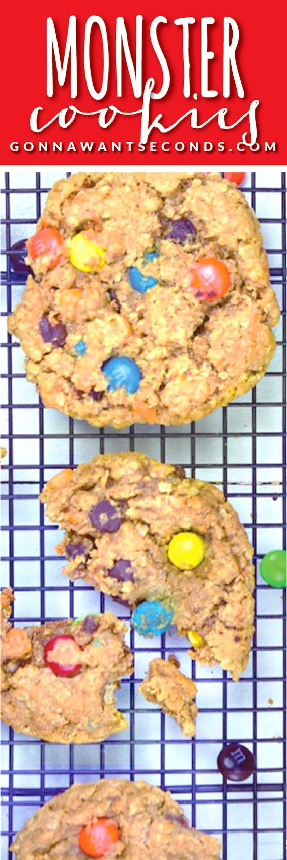 Monster Cookies- these cookies are always a family favorite! Loaded with oats, peanut butter and Tons of goodies! Super easy to make. All you need is a large bowl and wooden spoon!