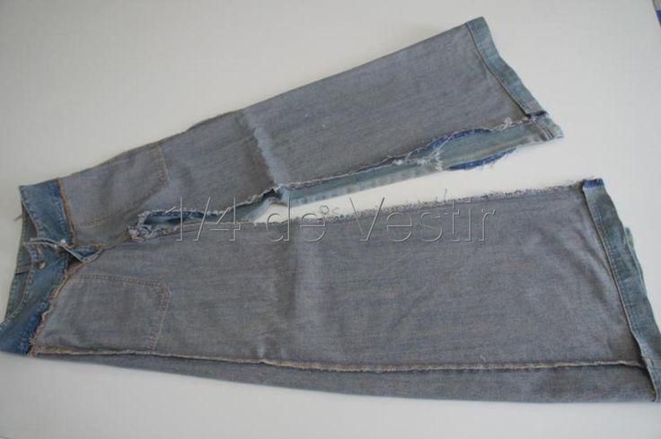 transformar calca jeans em saia longa 3