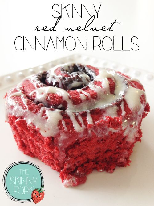 Skinny Red Velvet Cinnamon Rolls - A perfect combination of red velvet cake, cocoa filling and a cream cheese drizzle make up these guiltless cinnamon rolls!
