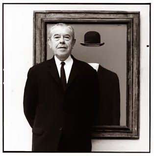 This Portrait of Magritte was taken by Lothar Wolleh. He was born on November 21, 1898. His mother committed suicide when he was 14. When the body was found, there was a cloth covering her face. Ever since then, Magritte painted pictures with various objects covering people's faces just like his mother covered her face. Some of his paintings are, The Lost Jockey, The Mirror, Black Magic, and many more. He died on August 15, 1967 of pancreatic cancer.