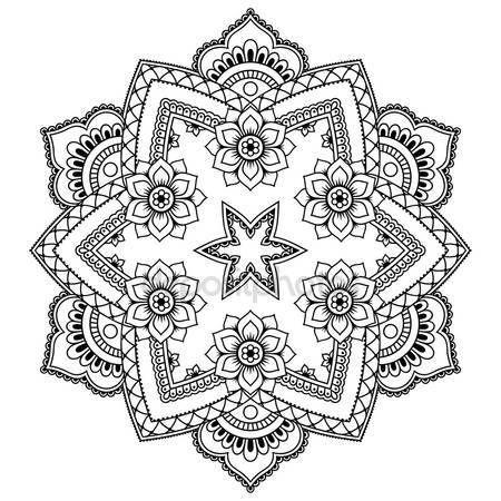 Descargar - Mandala del tatuaje de henna mehndi estilo. Modelo para libro de colorear. Ilustración de vector dibujado a mano aislada sobre fondo blanco. Elemento de diseño en estilo de garabatos — Ilustración de stock #120922208