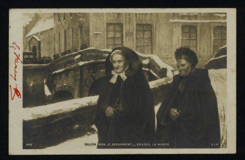 Links op de achtergrond situeert zich de Spanjaardstraat. Bemerk de kapmantel en pijpenmuts van de vrouw in de Augustijnenrei.