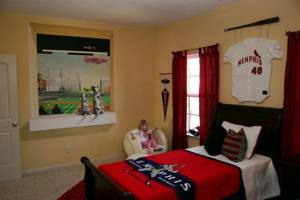 Boys baseball room boys room faux window looking for Boys baseball bedroom ideas