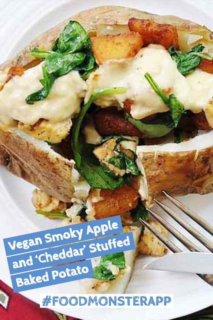 Smoky Apple And Cheddar Stuffed Baked Potato Vegan
