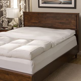 Luxury Natural Down on Top Featherbed with Cotton Cover Set - Overstock Shopping - The Best Prices on National Sleep Products Featherbeds