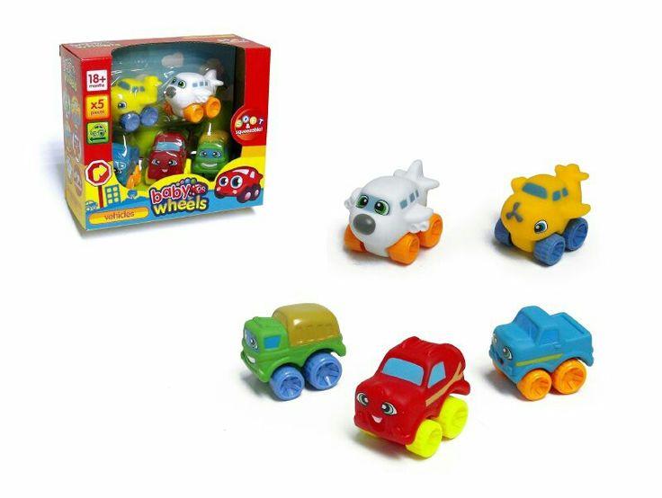 Set de 5 vehiculos medios de transporte, de goma, no tóxicos,  colores fiertes para la estipulación