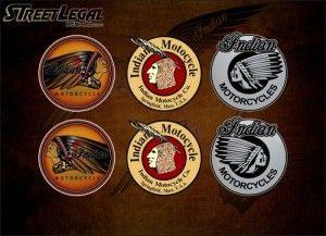 """6 Assorted 3"""" Indian Motorcycle Vinyl Decals"""