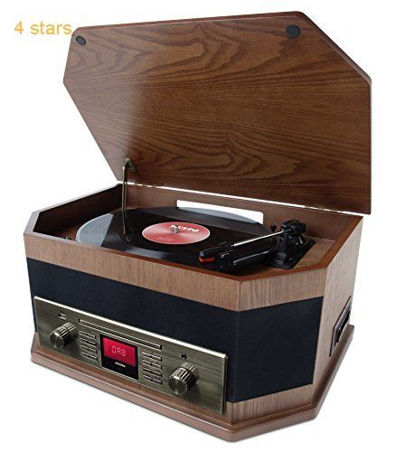 ION Audio Octave LP 8-in-1 Retro Music Centre with Bluetooth Streaming Record Player CD Cassette USB Playback/Record Auxiliary Input DAB/FM Radio and Built-in Speakers
