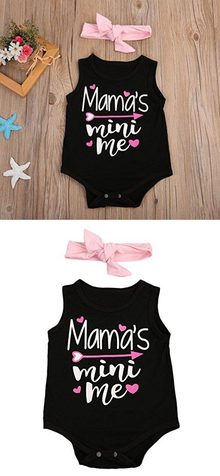 Newborn Baby Girl Letter Romper Sleeveless Black Jumpsuit Playsuit Outfits (0-6 Months)