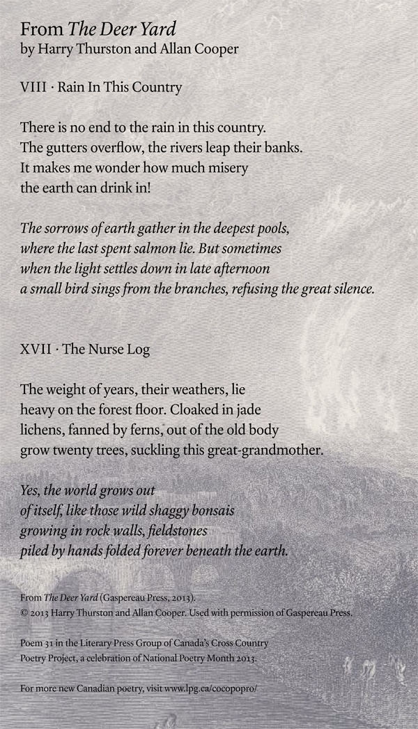 Poetry Month Day 25: from The Deer Yard by Harry Thurston and Allan Cooper (Gaspereau Press)