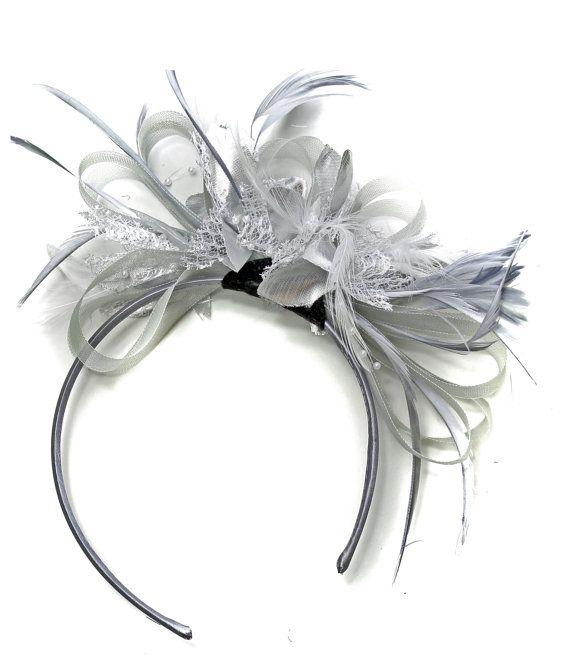 Grey Silver Fascinator on Headband AliceBand UK Wedding Ascot Races Loop