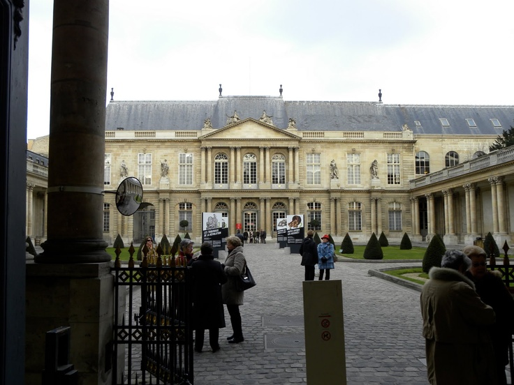 The Musée de l'Histoire de France in the Hôtel de Soubise. The Hôtel de Soubise was built for the Prince and Princess de Soubise on the site of a semi-fortified manor house built in 1375 that had formerly been a property of the Templars.