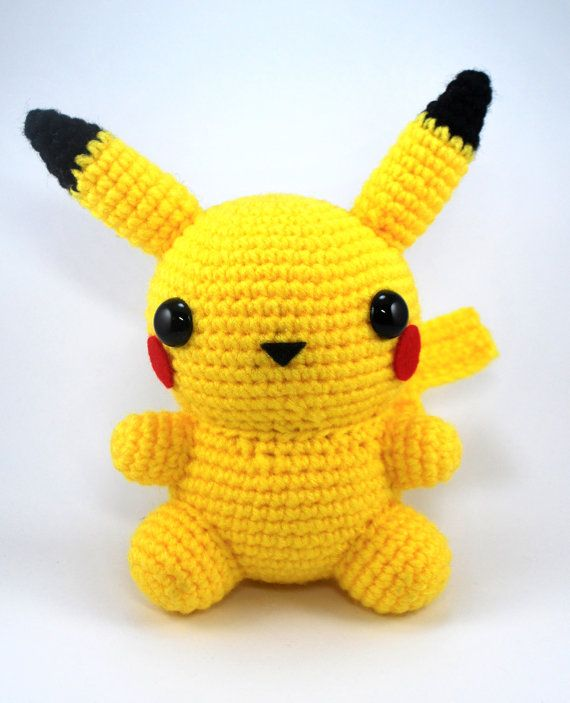 Crochet Pattern Amigurumi Chubby Pikachu by CraftyHanako on Etsy