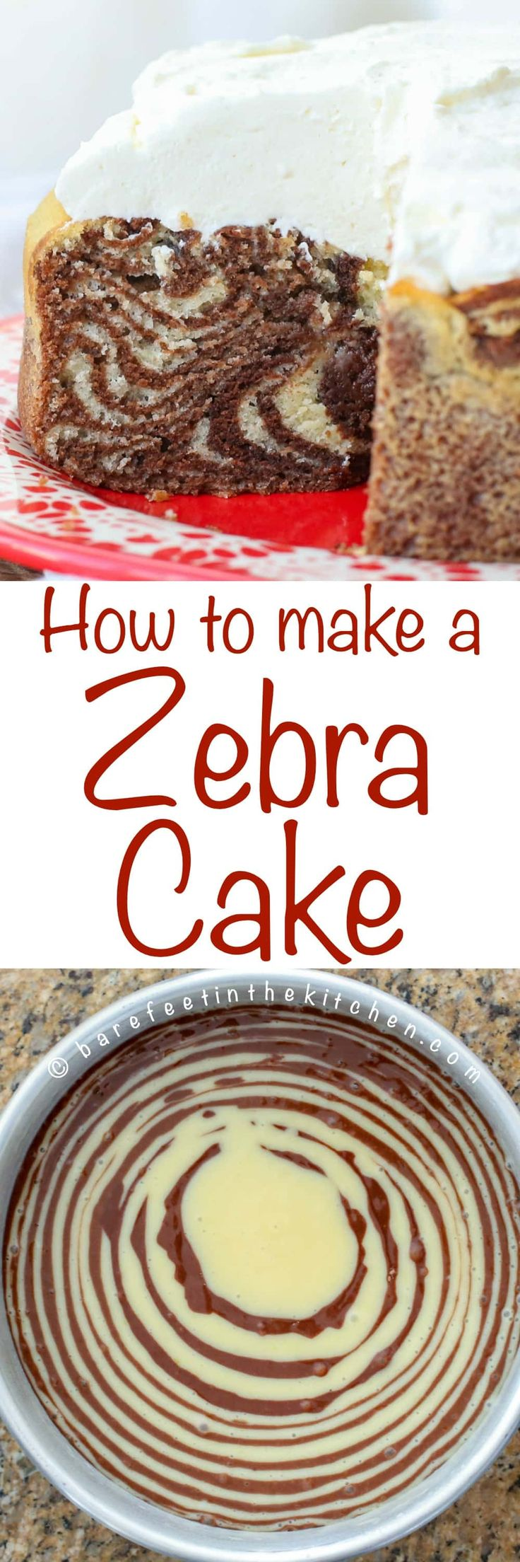 How to make a Zebra Cake! (It's easier than you think!!) get the recipe at barefeetinthekitchen.com