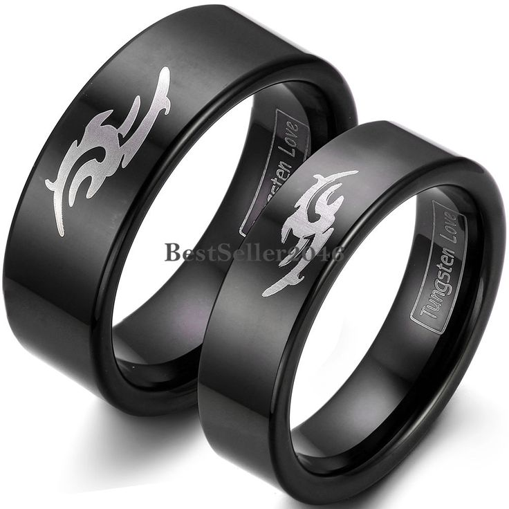 Black Tungsten Carbide Ring Laser Tribal Flame Flat Wedding Ring Engagement Band