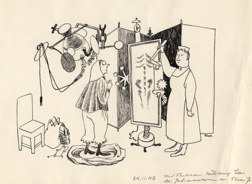 """Tove Jansson Cartoon with Moomin  1949  """"Tove Jansson drew a daily newspaper comic strip syndicated internationally from England 1954-1959.   The Moomin character first appeared as a recurring little doodle in the backgrounds of Jansson's magazine cartoons in the 40s and became a sort of visual signature for her work.  In a situation comparable to Carl Barks, just about all Moomin comic strip originals were destroyed by the publisher. Apparently all that remain are little bits and pieces she…"""