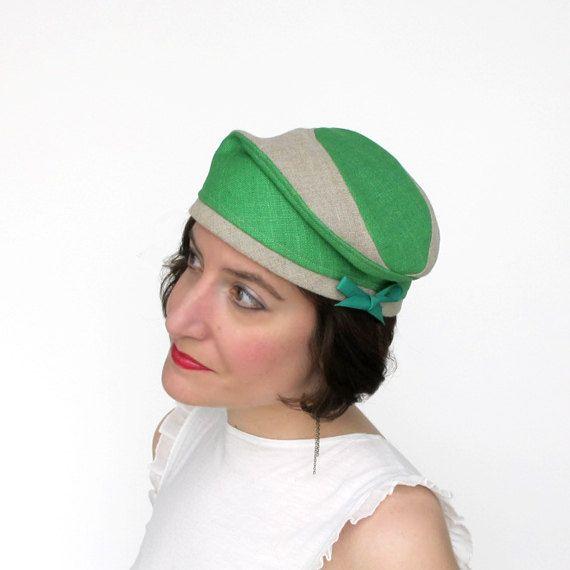 Vrouwen zomer baret linnen tulband, helder groene ruwe zijde hoed, moderne MADCAP-, handgemaakte genaaide stof hoed, reizen hoed, moderne modevak: uitje