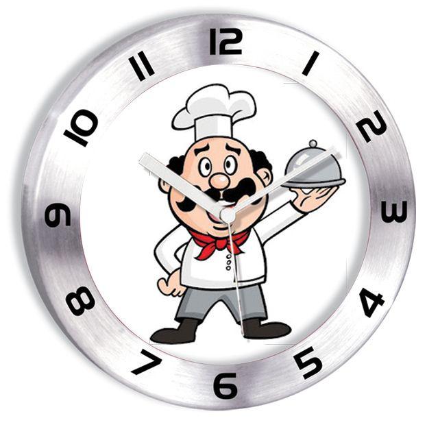 Metal Aşçılı Mutfak Duvar Saati  Ürün Bilgisi ;  Ürün maddesi : Alüminyum çerceve, Gerçek cam Ebat : 30 cm  Mekanizması (motoru) : Akar saniye, saat sessiz çalışır Metal Aşçılı Mutfak Duvar Saati Saat motoru 5 yıl garantilidir Yerli üretimdir Duvar Saati sağlam ve uzun ömürlüdür Kalem pil ile çalışmaktadır Gördüğünüz ürün orjinal paketinde gönderilmektedir. Sevdiklerinize hediye olarak gönderebilirsiniz