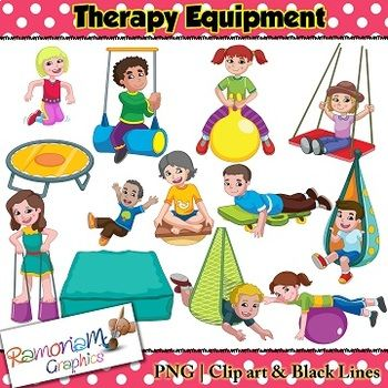 This Occupational Therapy Equipment Clip art set contains images of children using different therapy equipment.You will get:1. Girl on balance board2. Boy on bolster swing3. Boy on crash pad4. Boy in fabric swing5. Girl on Hi Hopper6. Boy in net swing7.