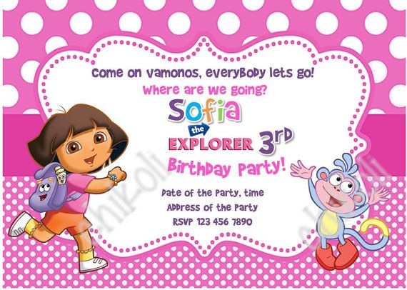 101 best Kids images – Dora the Explorer Party Invitations