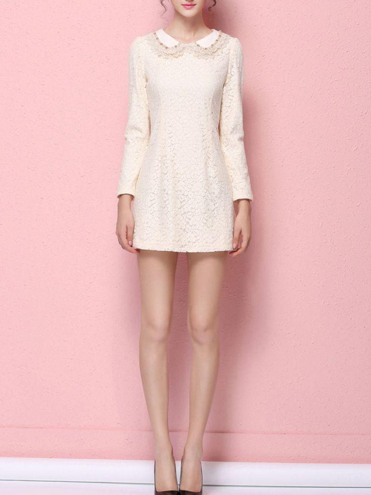 Apricot Long Sleeve Beaded Sheath Lace Mini Dress