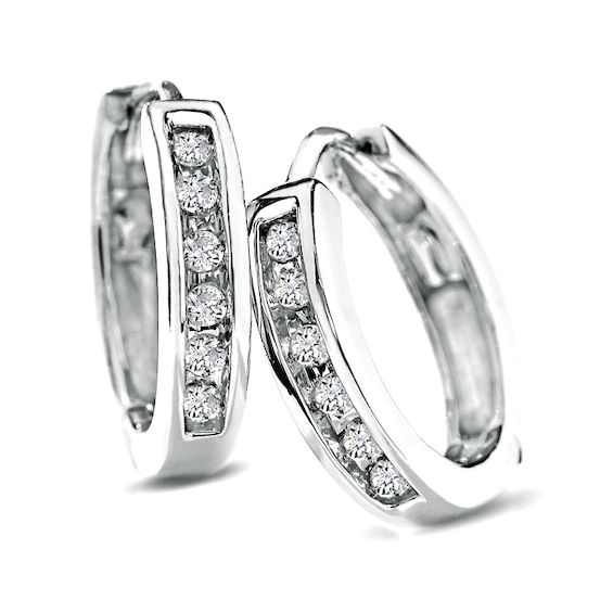 1 10 Ct T W Diamond Huggie Hoop Earrings In 10k White Gold Piercing Pagoda In 2020 Mens Earrings Hoop Diamond Hoop Earrings Jewelry
