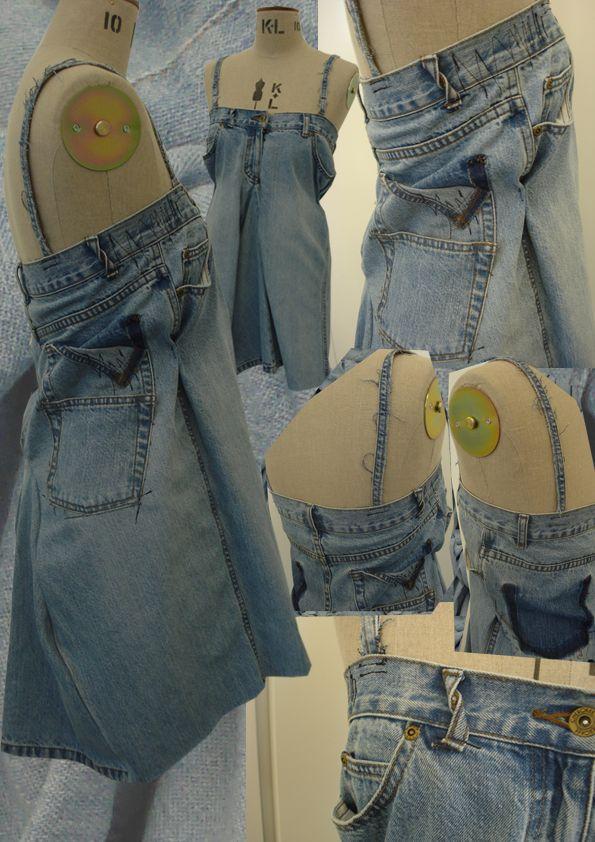 Robe faite à partir d'un vieux jean: