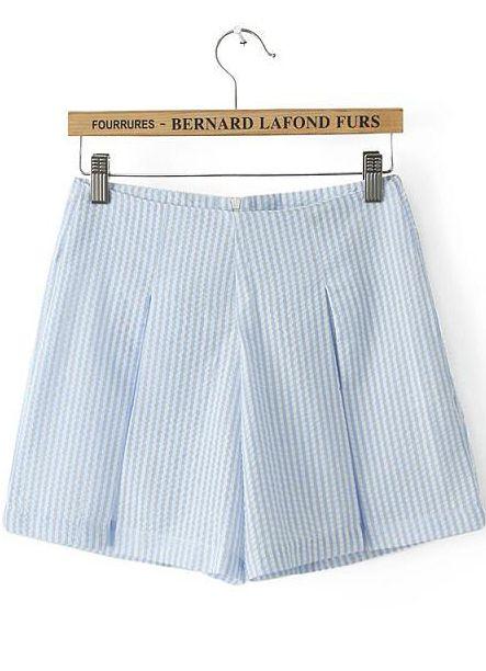 Shorts rayas verticales cintura alta-azul claro 13.42