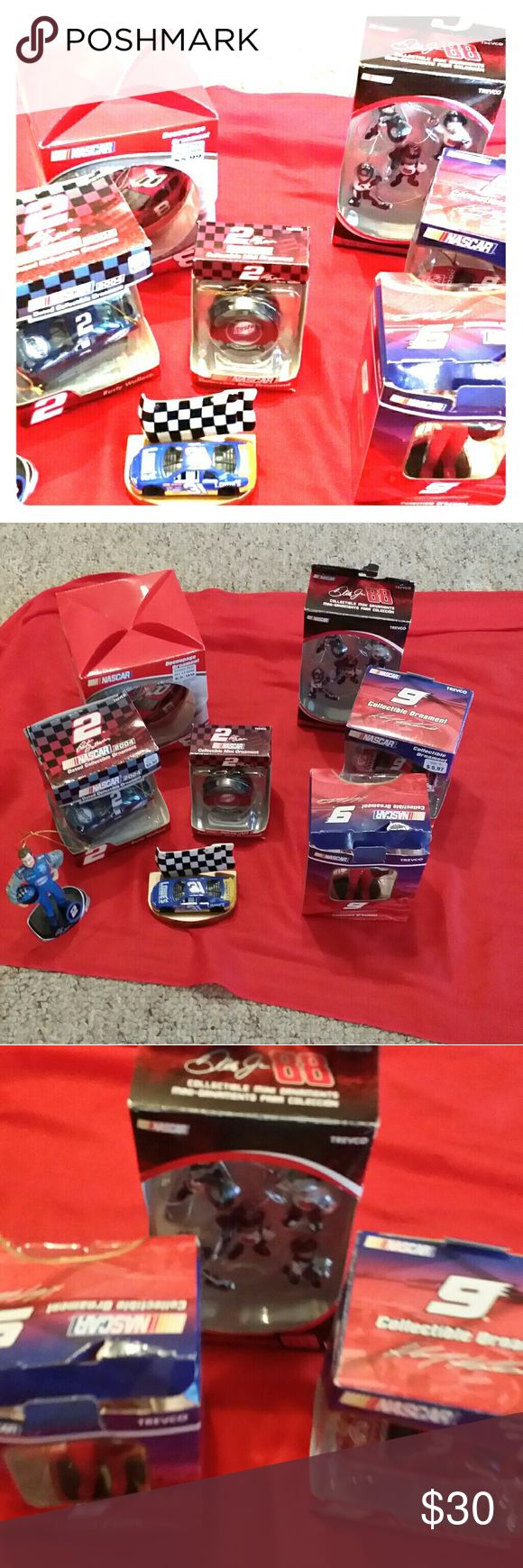 NASCAR COLLECTION.  ALL NEW IN BOX. LOT PRICE SALE All 8 items for lot price. Never taken out of box most. Dale Earnhardt,  Rusty Wallace. Etc. Most are ornaments Nascar Other