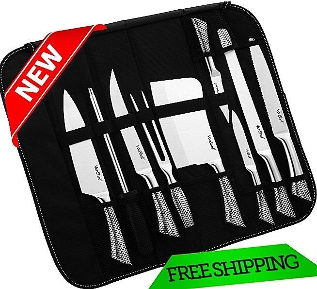 Professional Stainless Steel Knife Set 9 Pc with Carry Case High Grade tool New #Case