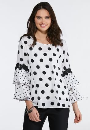 e03715aee6e734 Cato Fashions Plus Size Black White Polka Dot Ruffle Top #CatoFashions
