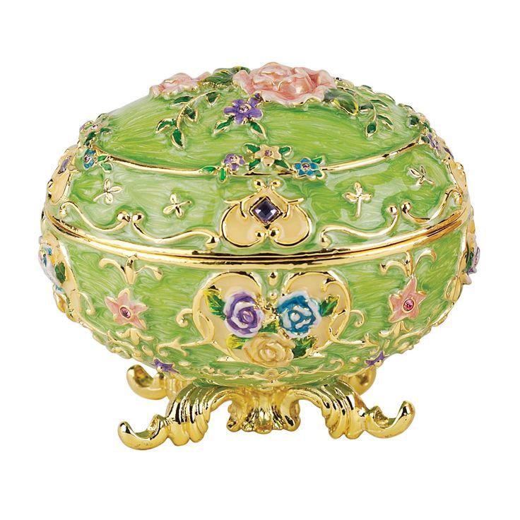Renaissance Faberge Style Enameled Egg Couleur Verte