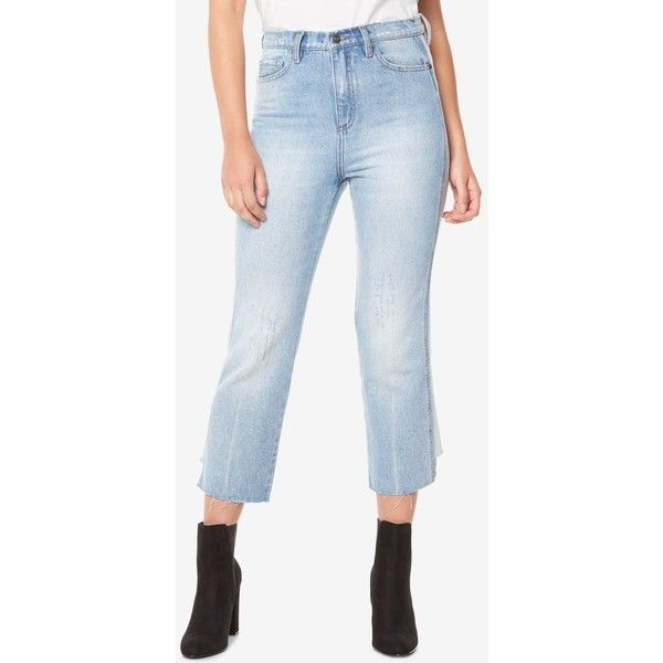 Buffalo David Bitton Cotton Frayed-Hem Cropped Jeans ($90) ❤ liked on Polyvore featuring jeans, light vintage, distressed cropped jeans, frayed hem jeans, buffalo david bitton jeans, cropped jeans and torn jeans