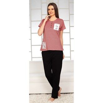 Pyjama Sets, Night Wear, Women, Fashion, Lulu, Pink Avenue, Pink Avenue Women's Pyjama Set 11717 , Women , Pink Avenue , 11717 ,  ,  ,  ,  ,  ,  , Top : 60% Cotton & 40% Polyester. Bottom : 100% Cotton , Summer ,  , 1 Pyjama Set , Machine wash warm with similar colors,Do not bleach, Do not dry clean, Do not tumble dry, Iron low required. There might be slight color variation due to lightings and flash while photo shoot.