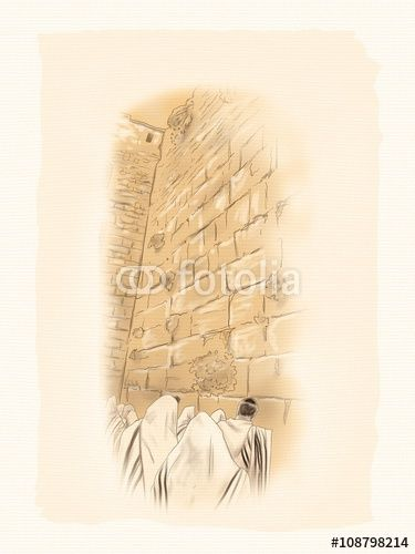 """Download the royalty-free photo """"Western wall Jerusalem, prayer. David's city - old city of Jerusalem. Israel. Landscape. Digital Illustration. Hand Drawn."""" created by sofiartmedia at the lowest price on Fotolia.com. Browse our cheap image bank online to find the perfect stock photo for your marketing projects!"""