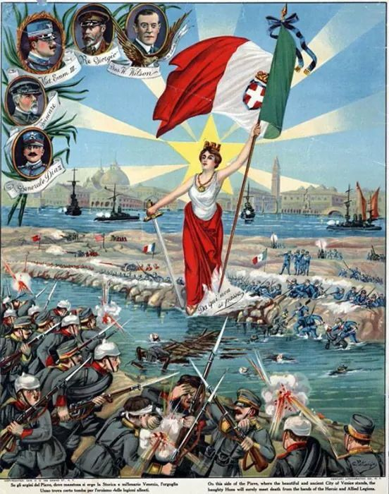 "Italy, WWI. Artist: G. Petronzio. ""On this side of the Piave, where the beautiful and ancient City of Venice stands, the haughty Huns will surely meet death from the hands of the Heroic and Allied Legions."""