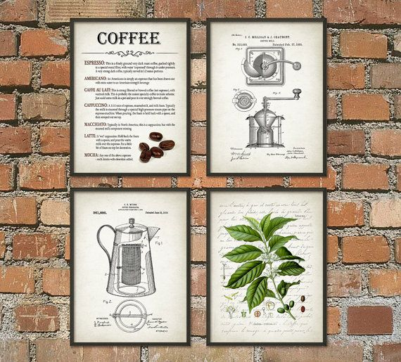 Coffee Wall Art Poster Set of 4 Coffee Plant by QuantumPrints