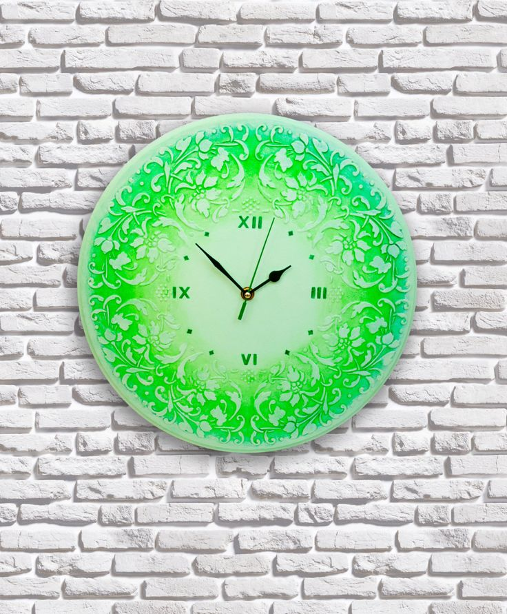 Large wooden round wall clock, Analog clock, Big wall clock, Hanging clock, Clock face, Ombré painting technique, Wall decor, Mint gift by WOWSTUFFS on Etsy