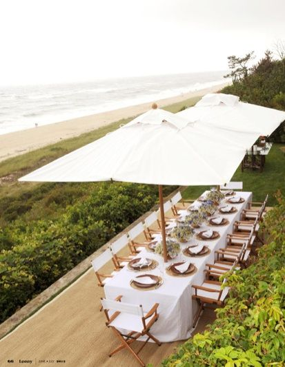 I know we prob can't get the umbrella's but if we did a white table with pretty settings I think it's perf for the space at the beach house
