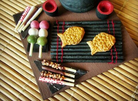 Miniature hanami dango, pocky and taiyaki