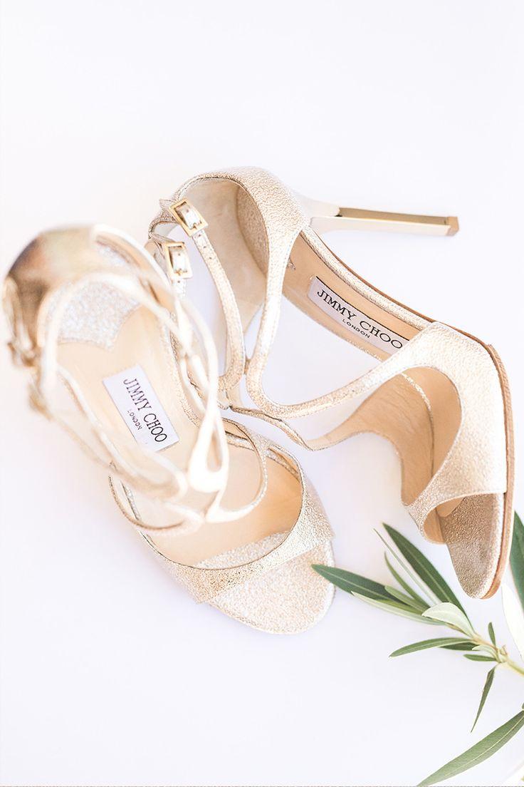 gold Jimmy Choo wedding shoes. So pretty.