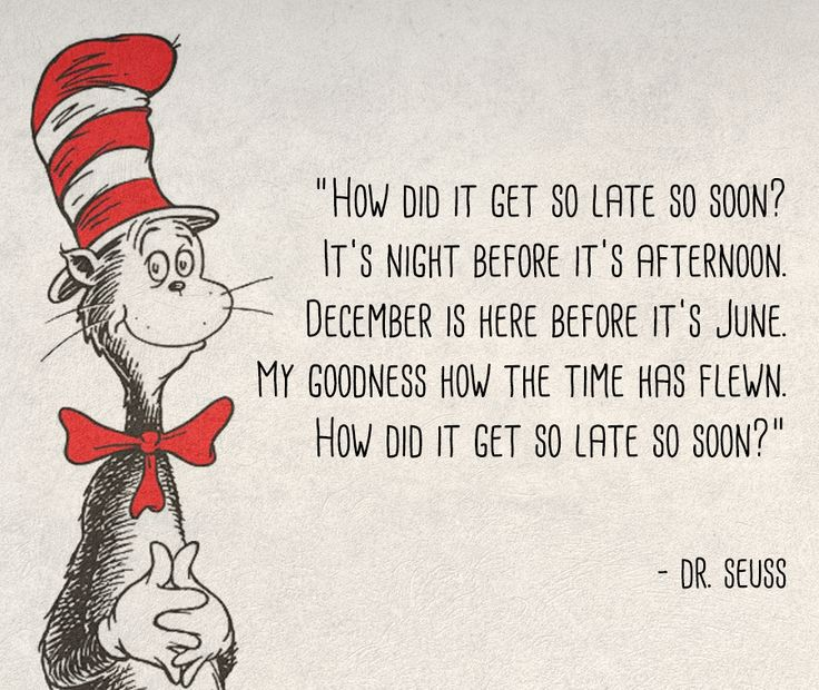 How did it get so late so soon? - Dr Seuss quote