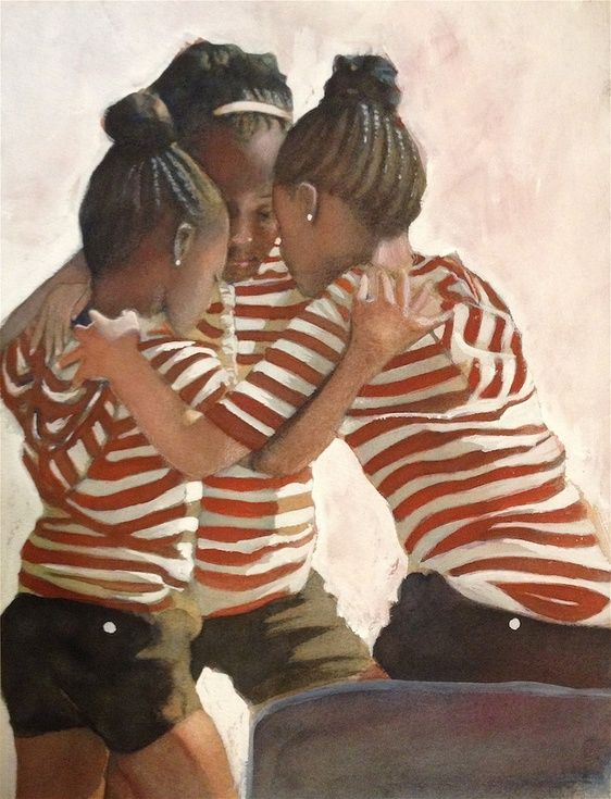 ARTFINDER: Three Girls Praying by Gregg DeGroat - A watercolor painting of three young African American girls praying before a team event they are participating in.